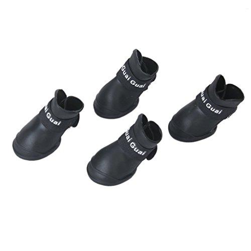 Generic Pet Dog Waterproof Skidproof Rain Shoes Boot Size L - Black