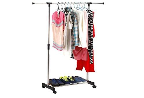 Kleiderständer, Kleiderstange, Garderobenständer mit Rollen Höhenverstellbar von 95 bis 170cm