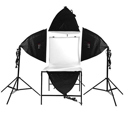 Life of Photo Fotostudio LED Dauerlicht Set Softbox + Aufnahmetisch für Produktfotografie