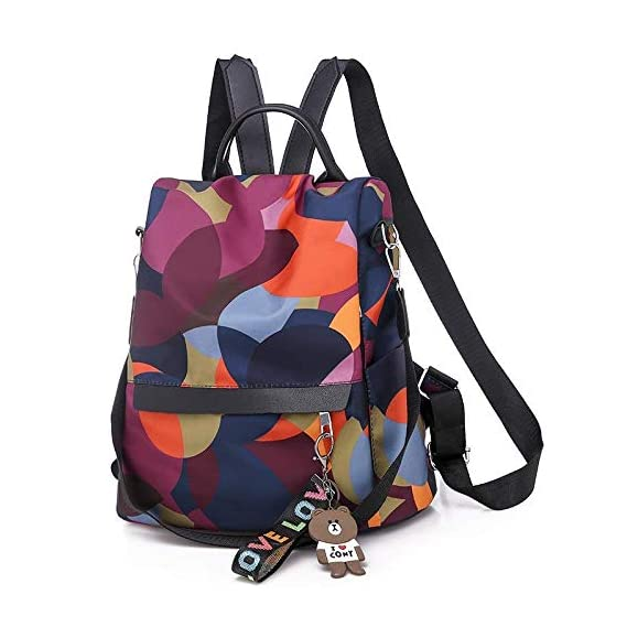 MOCA Women's Nylon Mini Small Anti-Theft Rucksack Travel Backpack (Multicolour)