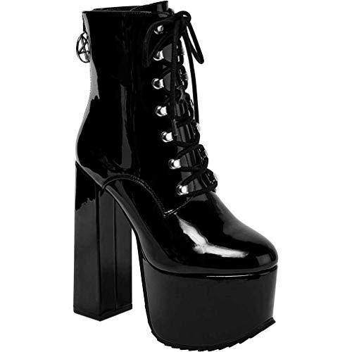 Killstar - Botas de Plataforma de Sintético Mujer, Color Negro, Talla 37 EU