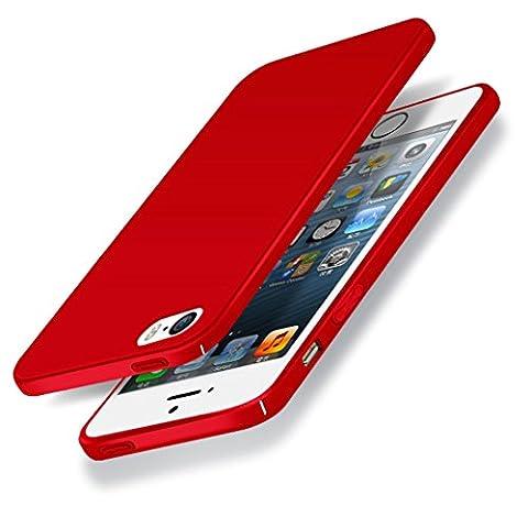 Coque iPhone 5s, Yoowei Ultra Mince Dur PC Rigide Etui Housse Coque de Protection Anti-Rayures Anti-Choc Bumper Case pour Apple iPhone SE/5/5s, Rouge