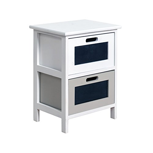 Mobili Rebecca Table de Nuit Chevet 2 Tiroirs Rebecca London Bois Blanc Noir Gris Design Moderne Chambre (Cod. RE4384)
