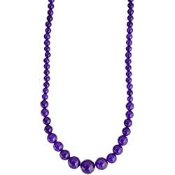 Pretty Purple Colour Quartz Semi Precious Gemstone Beaded Necklace For Women