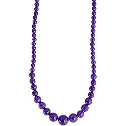 Pretty Purple Colour Quartz Semi Precious Gemstone Beaded Necklace For Women