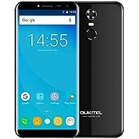 Oukitel C8 5,5 Zoll Smasrtphone Android 7.0 3G Dual SIM Ohne vertrag Handy MT6580A 1.3GHz Quad Core 2GB RAM 16GB ROM 5MP + 13MP Kamera, 3000mAh Akku, Fingerabdruck (Schwarz)