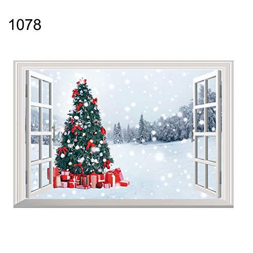 Elch Akzent (Wandsticker & Wandbilder Home D ̈¦cor Home D ̈¦cor Akzente für Wohnzimmer Blumen & Weihnachten Santa Claus Elch 3D Fenster Wand Aufkleber Weihnachten Home Room Art Decor, 1078, onesize)