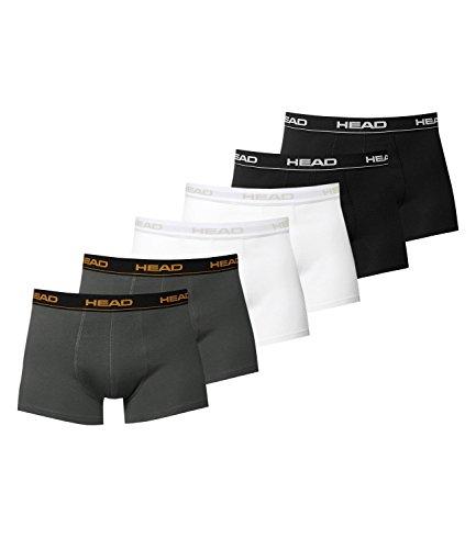 6er Pack HEAD Herren Boxershorts schwarz / weiß / dark shadow