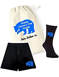 pretty little customs Printed Mens Boxers, Socks and Bag Set - Daddy Bear - Father's Day Personalised Bag Great Gift