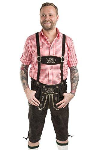 Herren Hopfen und Malz Trachtenlederhose Kniebundhose Oktoberfest Trachten Lederhose Kniebund Leder Hose (56, dunkelbraun)