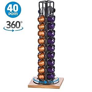 Bakaji Stand Porta Capsule Caffè 40 Posti Base in Legno Rotante Girevole 360° Inserimento Verticale In Metallo