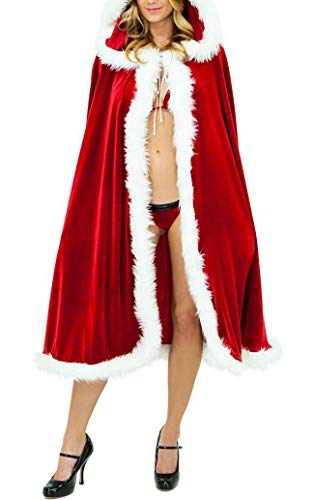 Red velvet white fur hooded cape mantak sexy santa cosplay costumi natalizi donne adulte festa di carnevale clubwear