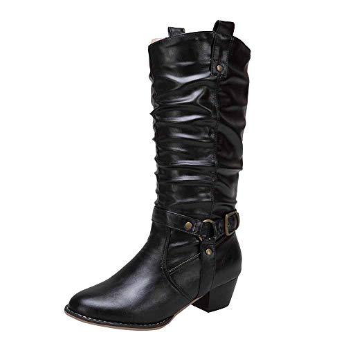 RBNB Chaussure Femme Hiver Bottes Hautes de Neige Chaussures Chaudes Rétro Bottes imperméable Neige Femme Hiver avec Doublure Chaude Bottes Femme Pas Ch
