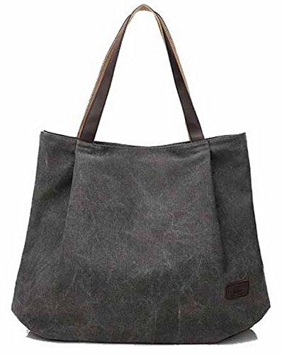 AgooLar Damen Mode Reißverschluss Poly-Baumwolle Käufer Trage-Stil Tragetaschen, GMLBB199039, Grau