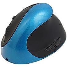 Ratón óptico ergonómico vertical sin hilos 2.4Ghz, 3 DPI ajustable 1600dpi, batería recargable incorporada del Li-ion, peso incorporado del metal, para el Hander derecho, Azul EN CAJA