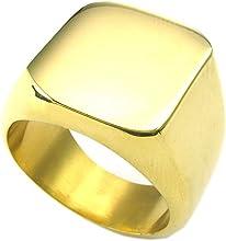 KONOV Joyería Anillo de hombre, Sello, Acero inoxidable, Color oro (con bolsa de regalo)