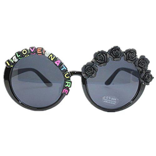 Ppy778 Sonnenbrille Lady Round Frame Handmade Blumen Sommer Seaside Brille UV-Schutz