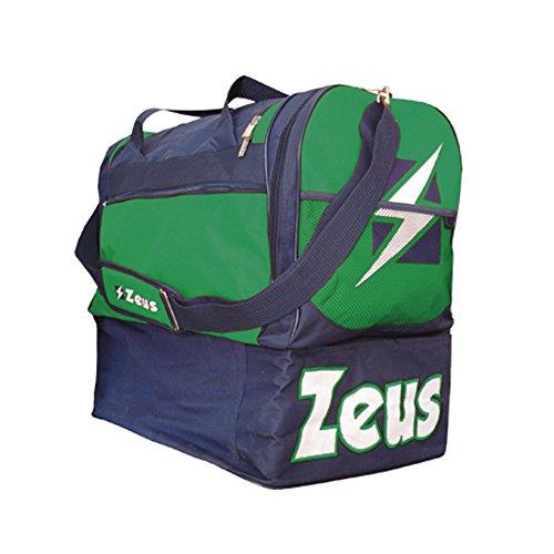 Zeus Herren Sporttasche Schultergurt Umhängetasche BORSA GAMMMA 52X52X36 cm (SCHWARZ-ROT) BLAU-GRÜN