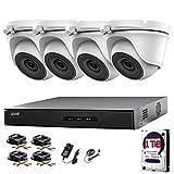 Hikvision 4CH DVR CCTV Kit système de sécurité et 4x 2,4MP Sony Chipset Tvi 1080p Full HD Gris Caméras dôme 20m IR Vision de nuit facile P2P Disque dur de 1To