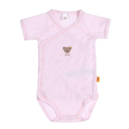 Steiff Unisex - Baby Body 0008641 1/4 Arm, Gestreift, Gr. 68, Rosa (Barely Pink)
