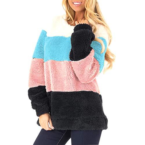 GOKOMO Damen Herbst Winter Kontrast SpleißEn Kapuzenpullover Hoodie Pullover Teddy-Fleece Mantel Langarmshirt Sweatshirt Lange äRmel Farbblock Fuzzy (Black Desert Online Kostüme)