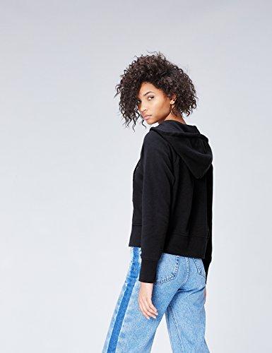 FIND Damen Kapuzenpullover mit Reißverschluss Schwarz (Black), 38 (Herstellergröße: Medium) - 3