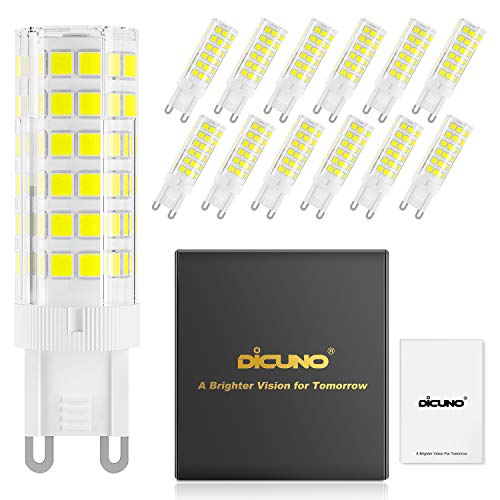 DiCUNO G9 Dimmable LED Light Bulbs, 6W (60W Halogen Equivalent), 550LM, Daylight White (6000K), G9 Ceramic Base, G9 Bulbs for Home Lighting, 12-Pack