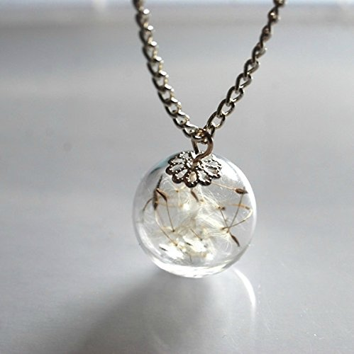 resin-dandelion-necklace-925-hallmark-silver-plated-chain-solid-eco-resin-make-a-wish-orb-silver-nec