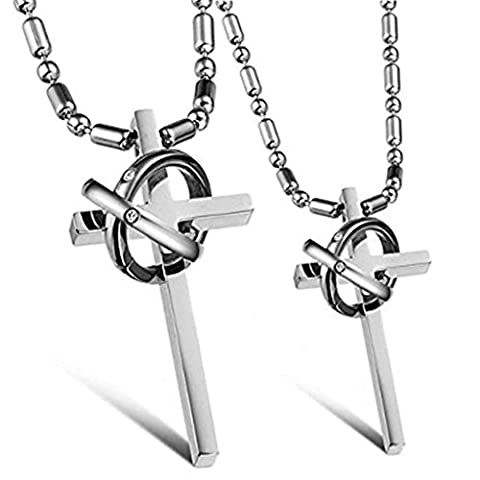 Daesar His & Hers Neckalce Set Couple's Stainless Steel Necklace Cross With Interlocking Rings
