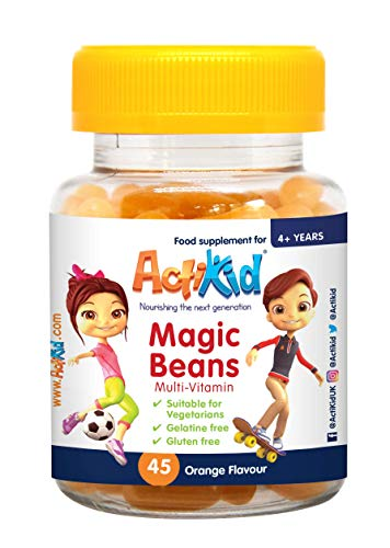 ActiKid Magic Beans Multivitamin 45x Orange Flavour, Gelatine Free, Vitamins for children