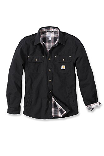 carhartt-arbeitshemd-arbeitsshirt-arbeitsjacke-weathered-canvas-shirt-jacket-black-s