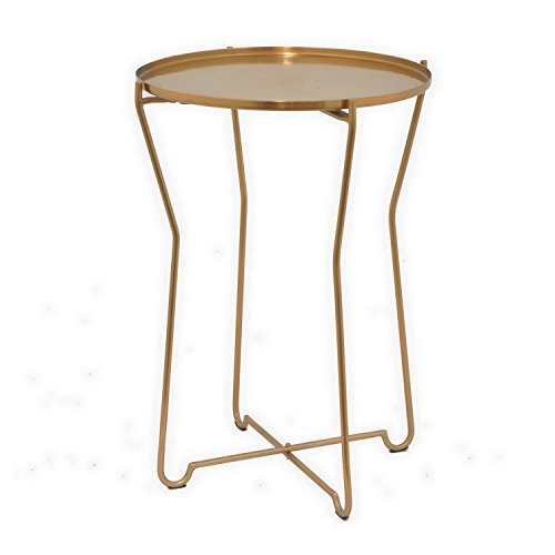 Drei Hände Moderne Runde Bronze Metall Accent Tisch (Sunburst Beistelltisch)