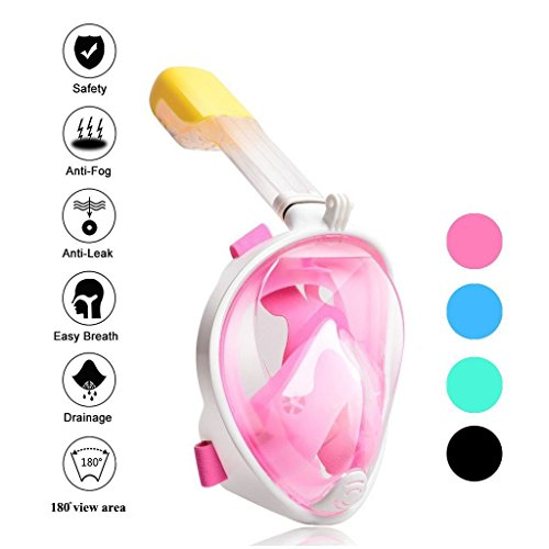 Tauchmaske Vollmaske mit integriertem Schnorchel für Erwachsene, Tauchen Schablone für Gopro Hero 1, 2, 3, xiaomi, SJ Kameras (Rosa, Small size-S/M)
