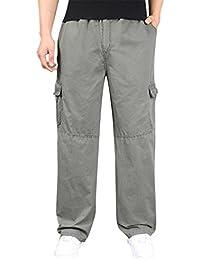 Baymate Hombre Casual Multibolsillos Pantalones De Trabajo Cargo Pantalón