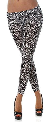 Q.A. Damen Leggings lang in verschiedenen Designvarianten schwarz weiß 3