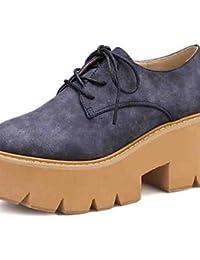ZQ Zapatos de mujer-Tacón Plano-Puntiagudos-Oxfords-Oficina y Trabajo / Casual-Cuero-Negro / Azul / Blanco / Naranja , orange-us8 / eu39 / uk6 / cn39 , orange-us8 / eu39 / uk6 / cn39