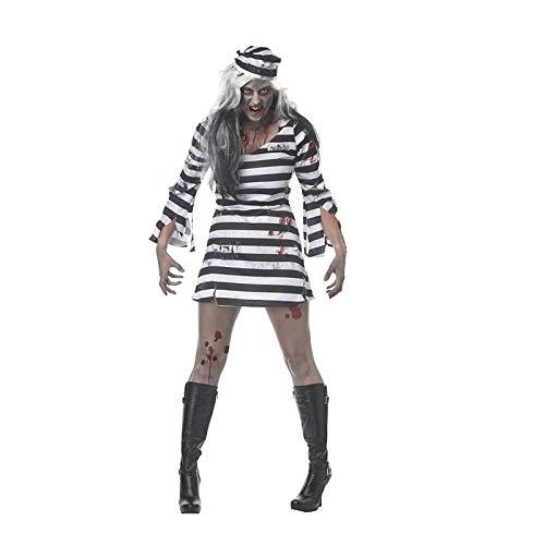 Averyshowya Kostüme Kleidung für Erwachsene Sexy Adult Female Serving Halloween Kostüm Spiel Kleidung Paare gestreifte Kleidung Party Kleidung @ (Einzigartige Kostüm Für Paare)