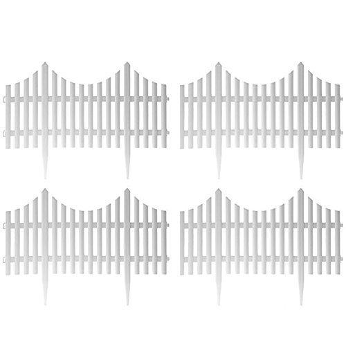 Sohler by EuroTrade W 5057102001379weiß Kunststoff Holz Effekt Rasenkante Grenze Garten Pflanze Palisadenzaun Panels, mehrfarbig, Set von 4Stück (Panel Holz-tor)