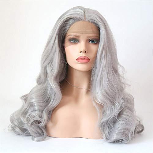 Granny Grey front lace Chemiefaserhaar Perücke europäische und amerikanische Damen Mode Welle lockige Haare Außenhandel Perücke Kopfbedeckung