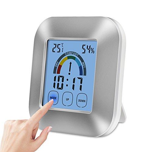 Hygrometer Thermometer, Bukm LCD Digitales Thermo-Hygrometer, Berührungsempfindlicher Bildschirm Thermometer mit Alarm Wecker Hygrometer für Schlafzimmer, Büro, Wohnzimmer, usw.