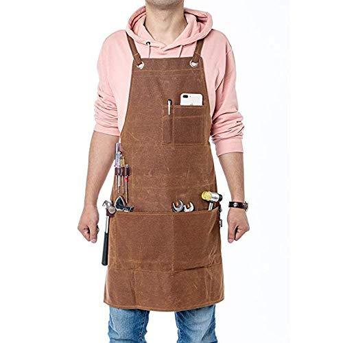QEES Einstellbare Werkzeugschürze Arbeitsschürze aus Canvas mit 3 großen Taschen für Ingenieure Tischler Handwerker für Küche, Garten, Keramik, Werkstatt, Garage HYWQ40