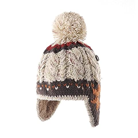 WITHMOONS Bonnet Knit Fleece Fairs Isle Nordic Ear Flap Pom Beanie Hat CR7500 (Ivory)
