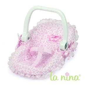 Transat pour poupée blanc en tissus rose