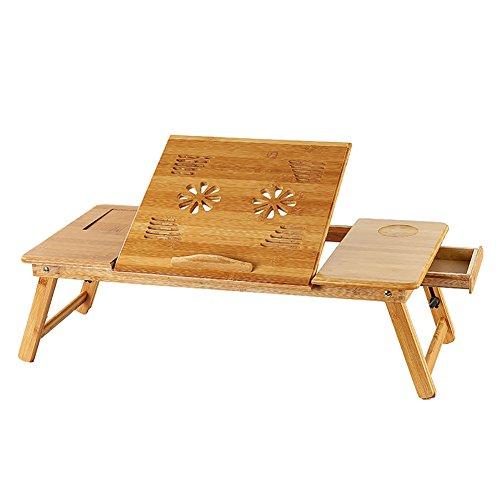 Tavolo pieghevole tavolo per laptop in bambù allungabile pieghevole, servire la colazione a letto o utilizzare come un computer portatile, multiuso e senza utensili