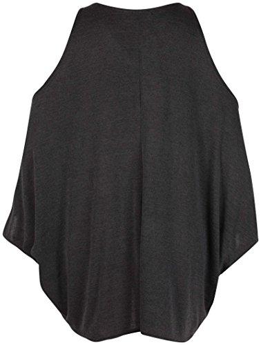 Damen Übergröße Ausgeschnittene Schulter Damen V-ausschnitt Flügelärmel Lang Schlicht T-Shirt Top Khaki