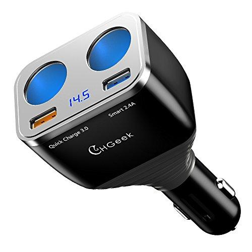 chgeek 80W 5,4A Zigarettenanzünder USB KFZ Ladegerät, Quick Charge 3.0Car Power Adapter DUAL USB für iPhone iPad, Android Samsung, GPS, Dashcam und mehr -