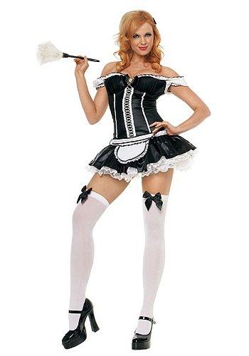 g - Naughty French Maid Kostüm - XS - Schwarz/Weiß - 83352 (Naughty Maid Kostüme)