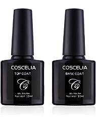 2pcs 10ml Vernis à Ongles Gel Semi-Permanents Soak Off Base Top Coat Gel UV LED Couleur Transparente