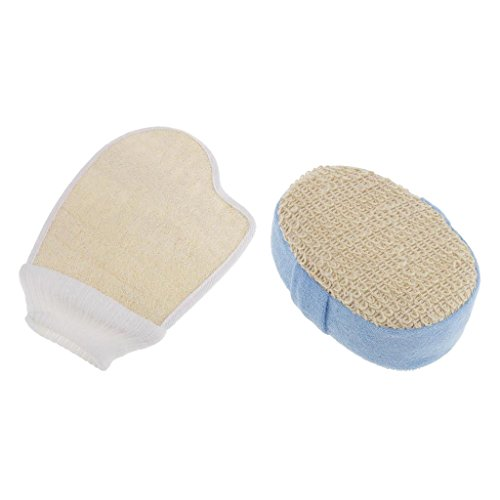 MagiDeal 2er Pack Haut Peeling Badeschwamm + Luffa Schwamm, Dusche Bad Schwamm, Peeling Handschuh für Bad und Dusche, Tiefenreinigung Hautpflege