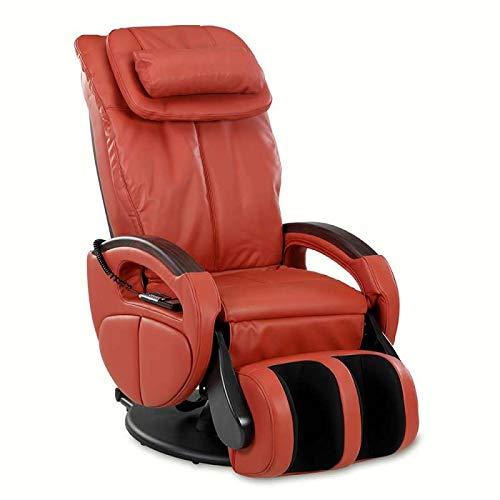 maxVitalis Massagesessel mit Wärmefunktion, Shiatsu-Massage, Körperscan, Fernsehsessel mit Rollen, elektrischer Relaxsessel, Stressless Sessel mit Verstellbarer Liegeposition (Rot)